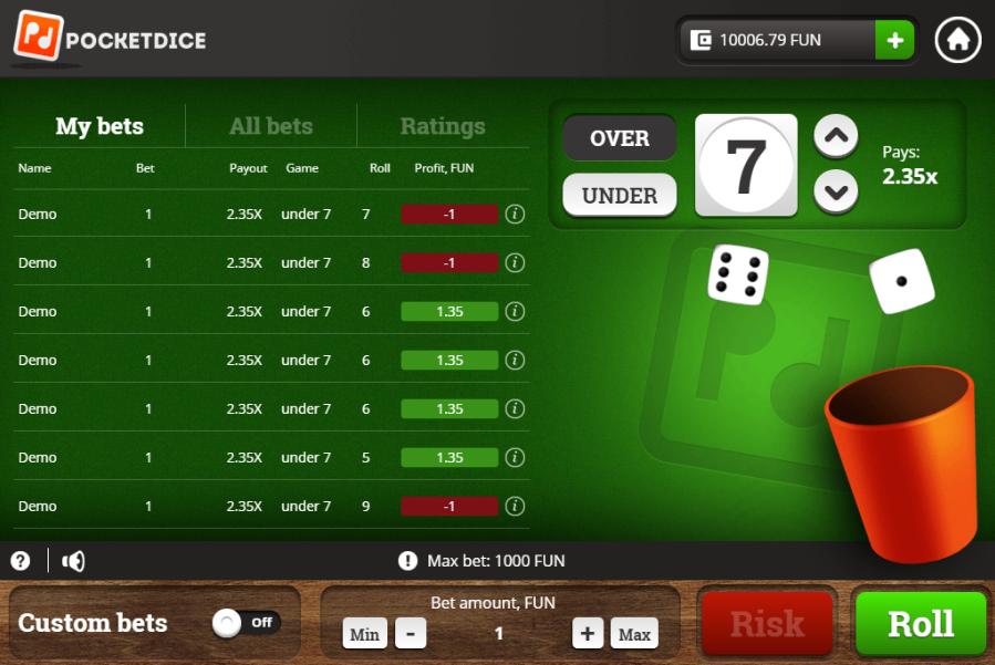Casinos pocketdice spins online 215134